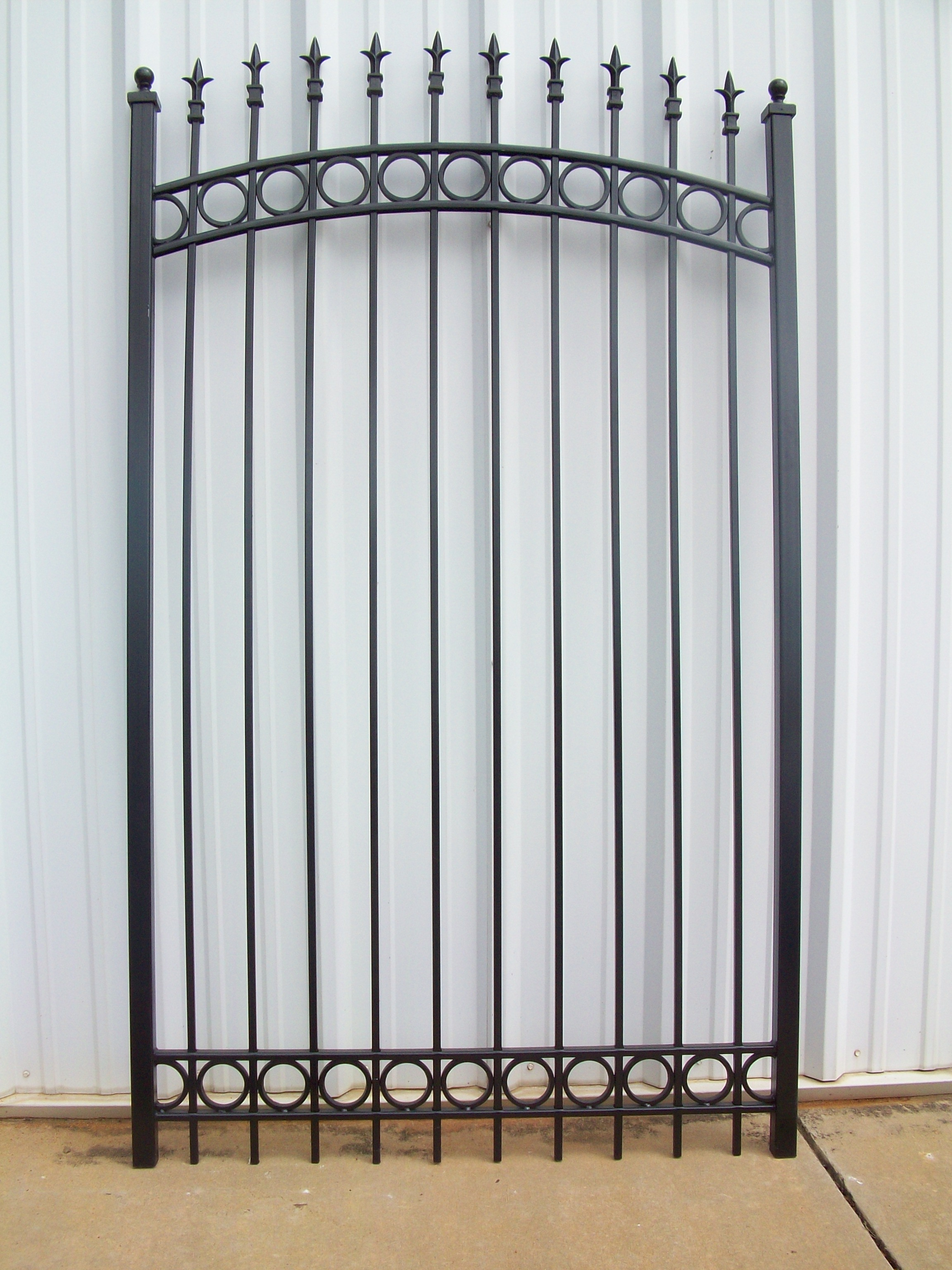 Iron garden gate - Ornamental Iron Walk Garden Gate With Top And Bottom Rings And Finials